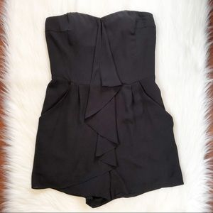 Express Black Romper With Ruffle Detail